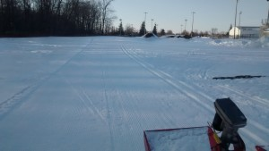 Freshly groomed trails at dusk.